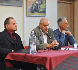 Biennale della poesia di Alessandria - Museo della Gambarina, 27-9-2014 Nella foto, da sinistra: Nevio Spadoni, Mauro Ferrari, Remigio Bertolino