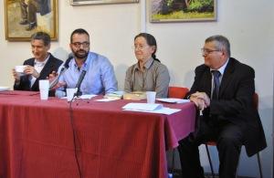 Biennale della poesia di Alessandria - Museo della Gambarina, 27-9-2014 Nella foto, da sinistra: Edoardo Zuccato, Emanuele Spano, Franca Grisoni, Francesco Granatiero